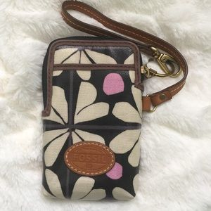 Fossil Canvas wristlet purse